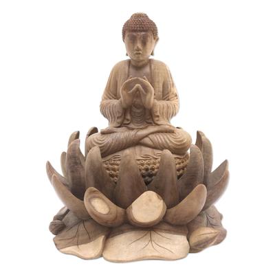 Artisan Crafted Hibiscus Wood Buddha Sculpture