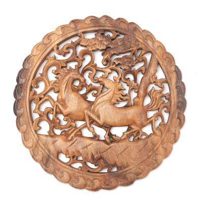 Hand Carved Suar Wood Horse Relief Panel