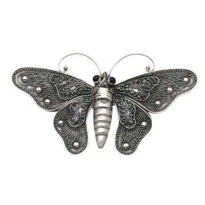 Sterling Silver and Onyx Butterfly Brooch