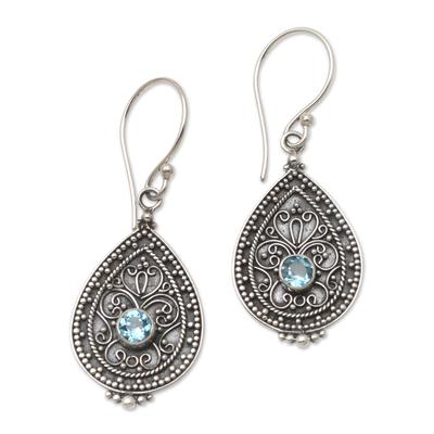Blue Topaz and Sterling Silver Dangle Earrings