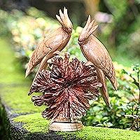 Wood sculpture, 'Cockatoo Couple' - Hand Made Jempinis Wood Cockatoo Sculpture