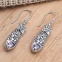 Amethyst and blue topaz dangle earrings, 'Butterfly Wish' - Amethyst and Blue Topaz Butterfly Earrings