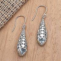 Amethyst and blue topaz dangle earrings, 'Dragonfly Wish' - Amethyst and Blue Topaz Dangle Earrings