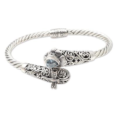 Blue topaz and amethyst cuff bracelet, 'Dragonfly in the Field' - Amethyst and Blue Topaz Cuff Bracelet