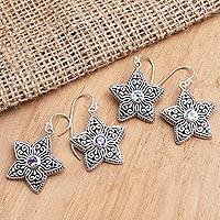 Gemstone dangle earrings, 'Cypress Flowers' - Gemstone Flower-Shaped Earrings