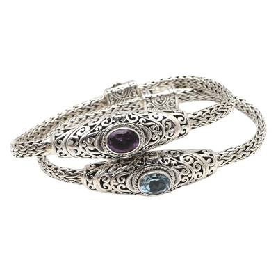 Amethyst and blue topaz bangle bracelet, 'Frangipani Dream' - Amethyst and Blue Topaz Bangle Bracelet