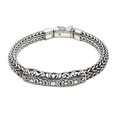 Sterling silver braided bracelet, 'Ancient Beast' - Sterling Silver Braided Naga Chain Bracelet