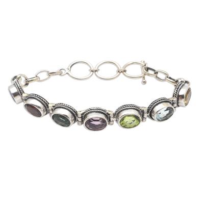 Multi-gemstone tennis bracelet, 'Paint the Rainbow' - Hand Made Amethyst and Peridot Tennis Bracelet