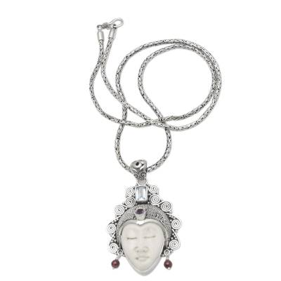 Amethyst and blue topaz pendant necklace, 'Sleeping Royal in Blue - Amethyst and Blue Topaz Pendant Necklace