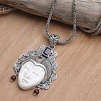 Multi-gemstone pendant necklace, 'Sleeping Royal in Red' - Garnet and Citrine Pendant Necklace