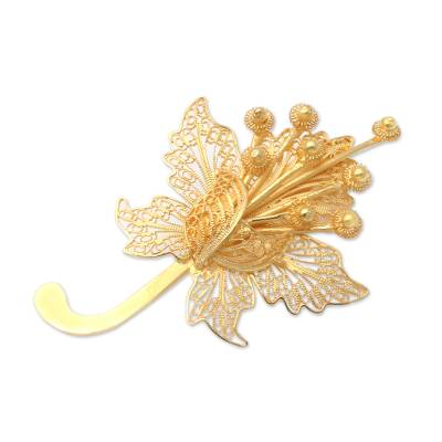 Gold-Plated Sterling Silver Flower Brooch