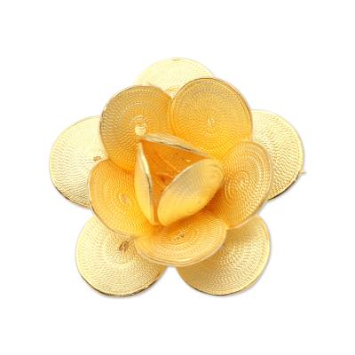 Hand Made Gold-Plated Sterling Silver Flower Brooch
