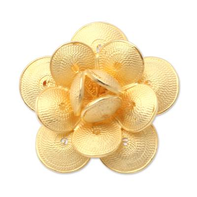 Handmade Gold-Plated Sterling Silver Flower Brooch