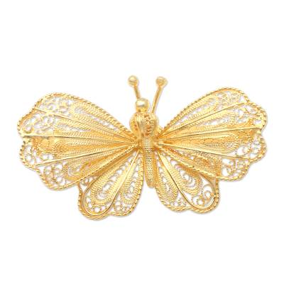 Gold-Plated Sterling Silver Butterfly Brooch