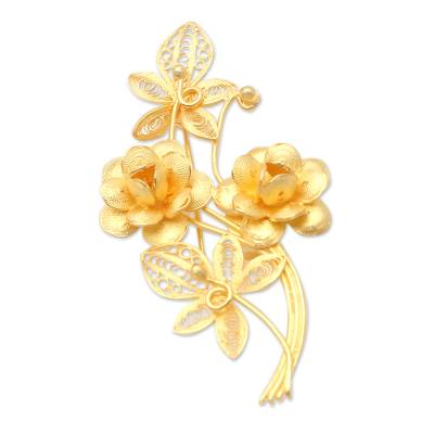 Gold-Plated Filigree Floral Brooch
