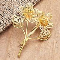 Gold-plated filigree brooch, 'Valentine Bouquet' - Gold-Plated Filigree Flower Bouquet Brooch