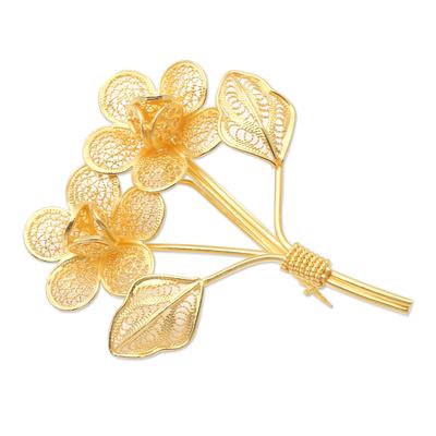 Gold-Plated Filigree Flower Bouquet Brooch