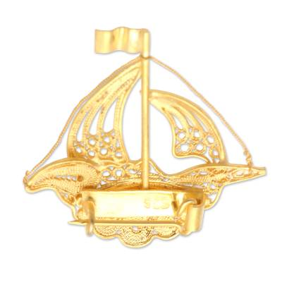 Gold-Plated Filigree Boat Brooch