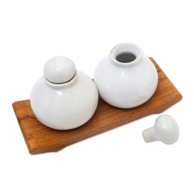 Hand Crafted White Ceramic and Teak Wood Bathroom Set