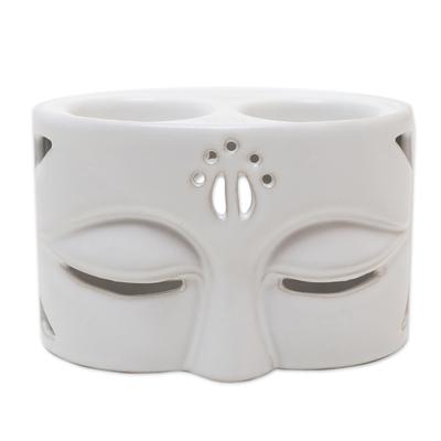 White Ceramic Buddha-Themed Oil Warmer