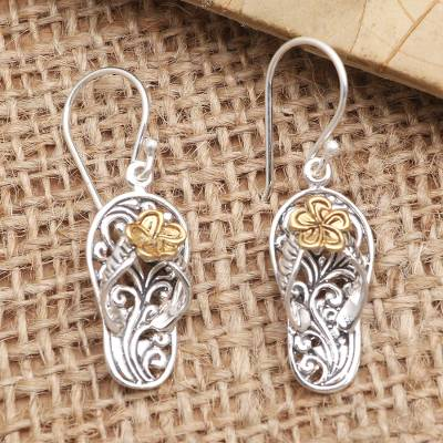 Gold-accented dangle earrings, 'Take a Walk' - Gold-Accented and Sterling Silver Dangle Earrings
