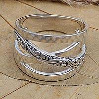 Sterling silver band ring, 'Infinity Sign' - Hand Made Sterling Silver Band Ring