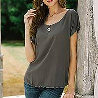 Embroidered rayon blouse, 'Coffee Date in Grey' - Grey Short-Sleeved Rayon Blouse