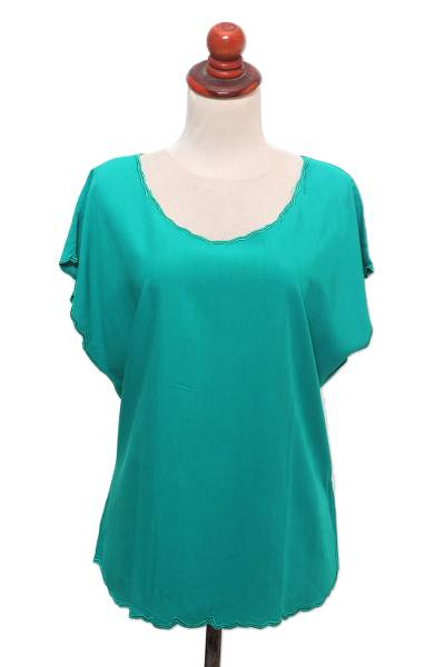 Embroidered rayon blouse, 'Coffee Date in Green' - Green Short-Sleeved Rayon Blouse
