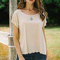 Embroidered rayon blouse, 'Coffee Date in Ivory' - Ivory Short-Sleeved Rayon Blouse
