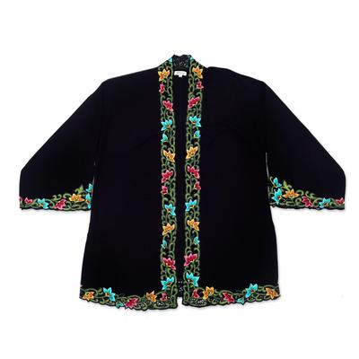 Embroidered cotton kimono jacket, 'Lily Blossom in Black' - Embroidered Black Cotton Kimono Jacket