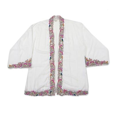 Embroidered cotton kimono jacket, 'Lily Blossom in White' - Embroidered Cotton Kimono Jacket from Bali