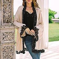 Embroidered cotton kimono jacket, 'Black Lillies' - Embroidered Floral Cotton Kimono Jacket