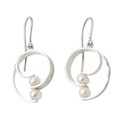 Cultured pearl dangle earrings, 'Beach Style' - Sterling Silver and Cultured Pearl Earrings from Bali