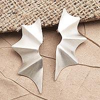 Sterling silver drop earrings, 'Bat Wings' - Matte Finish Sterling Silver Drop Earrings