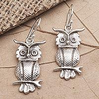 Sterling silver dangle earrings, 'Feathery Friends' - Sterling Silver Owl-Motif Dangle Earrings