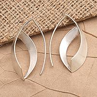 Sterling silver drop earrings, 'Modern Woman' - Hand Made Sterling Silver Drop Earrings