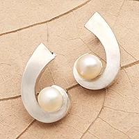 Cultured pearl drop earrings, 'C'est Chic' - Sterling Silver and Cultured Pearl Drop Earrings