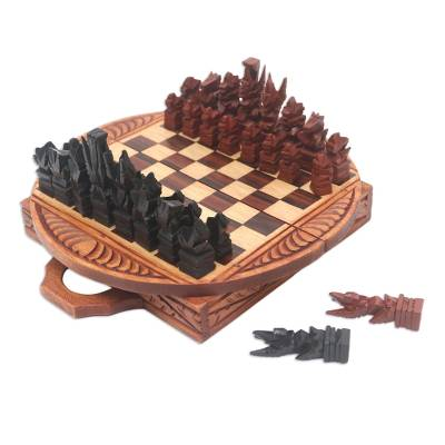 Hand Made Half-Moon Shape Crocodile Wood Chess Set