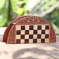 Wood chess set, 'Barong Player' - Handmade Crocodile Wood Traveling Chess Set