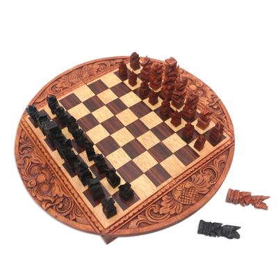 Handmade Crocodile Wood Traveling Chess Set