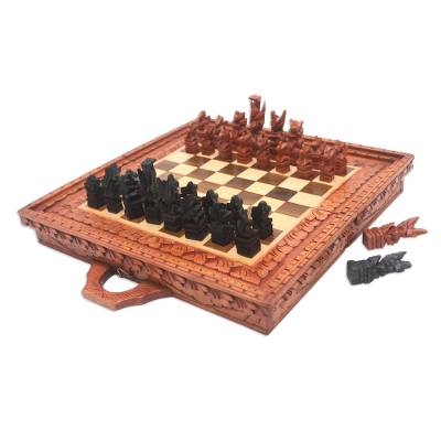 Hand Carved Natural Wood Folding Chess Set from Bali
