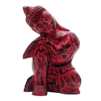 Hand Crafted Albesia Wood Buddha Statuette
