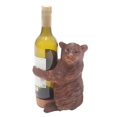Handmade Suar Wood Polar Bear Wine Holder