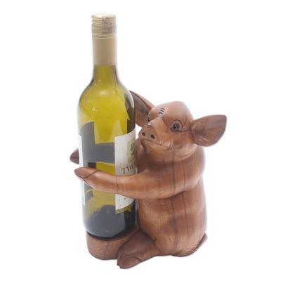 Hand Made Suar Wood Pig Wine Holder