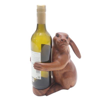 Hand Crafted Suar Wood Rabbit Wine Holder