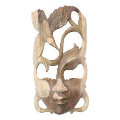 Wood mask, 'Woman in the Forest' - Hibiscus Wood Bird-Themed Mask