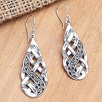 Sterling silver dangle earrings, 'Impossible Dream' - Sterling Silver Braided Dangle Earrings