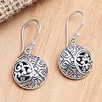 Sterling silver dangle earrings, 'Silver Hope' - Sterling Silver Circular Dangle Earrings