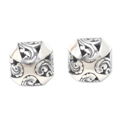 Sterling silver button earrings, 'Umbrella Shade' - Hand Made Sterling Silver Button Earrings