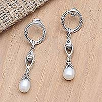 Cultured pearl dangle earrings, 'Right Direction' - Sterling Silver and Cultured Pearl Dangle Earrings
